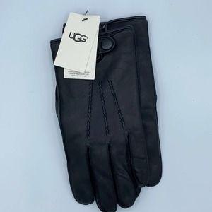 UGG Men's Mettisse Vented Black Leather Gloves